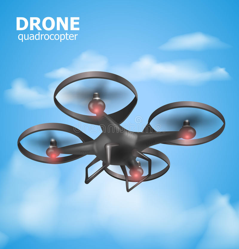 Realistic remote air drone quadrocopter flying in the sky and monitoring security. Isomertic view. Vector illustration royalty free illustration