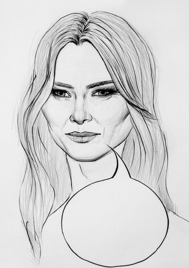 Melania Trump illustration. This is a realistic representation of president Melania Trump. She has a speech bubble for a slogan. Black and white illustration of stock illustration