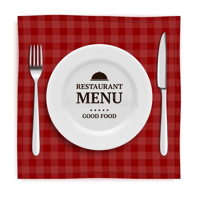 Realistic restaurant menu. Template menu with illustrations of tableware and cutlery knife and fork stock illustration