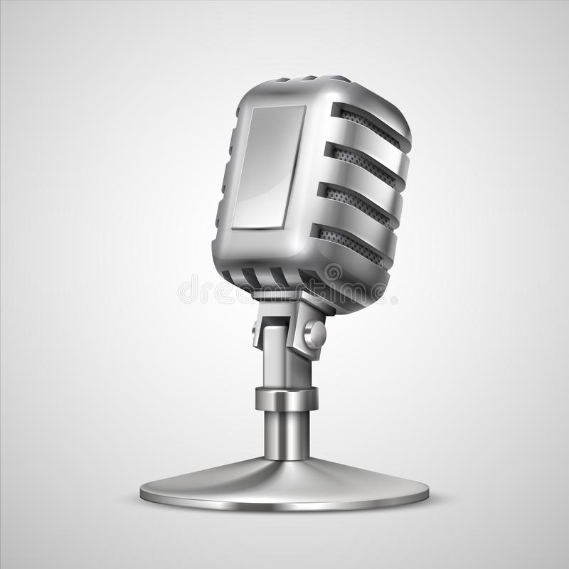 Realistic retro microphone. 3D vintage metal mic on holder, classic record equipment isolated on white. Vector studio vector illustration
