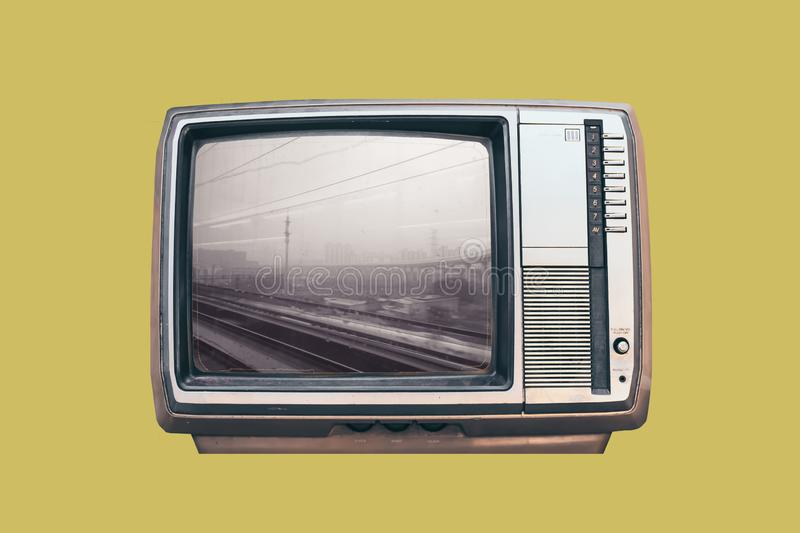 Realistic retro vintage back and white television mock up royalty free illustration