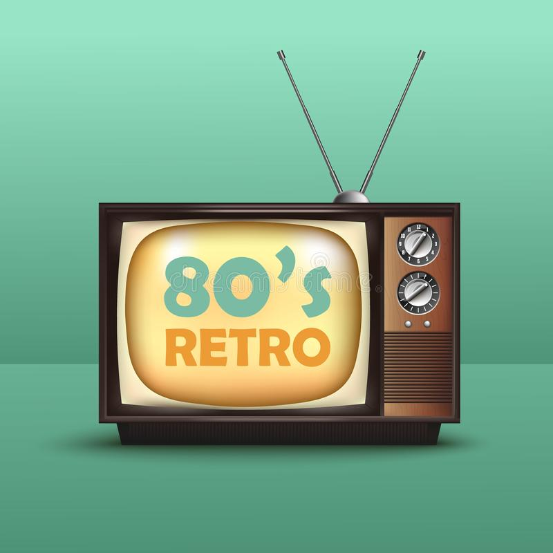 Realistic Retro Vintage TV. With Text. Vector vector illustration