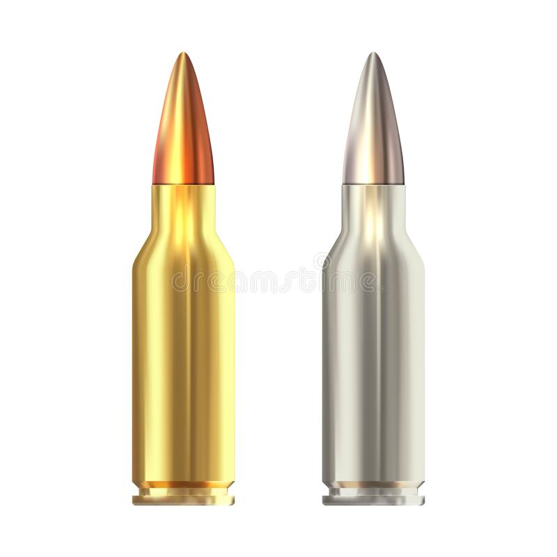 Realistic  rifle bullets islated on white background. Shiny rifle bullets. Realistic  rifle bullets islated on white background royalty free stock image