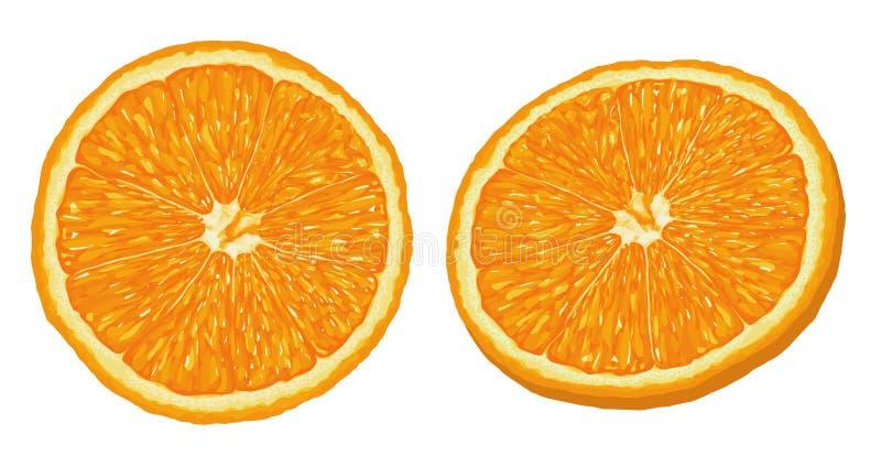 Realistic Ripe and Fresh Orange Slice Vector on iSolated White Background stock illustration