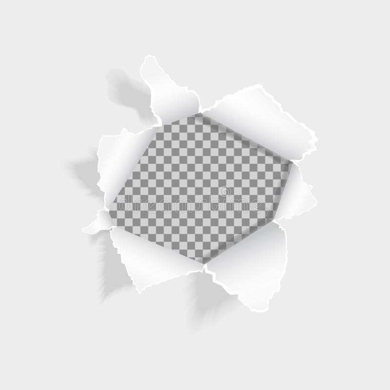 Realistic ripped hole in the sheet of paper. Torn paper on white background. Paper with ripped edges and space for text. Design for web, print, banner royalty free illustration