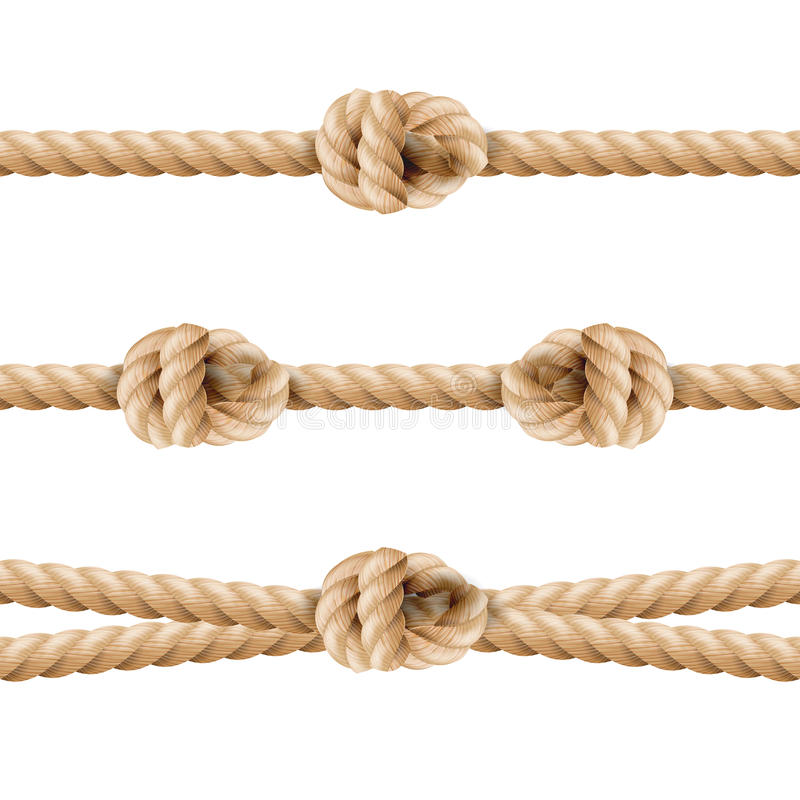 Realistic Rope Line Eith Knot. Yellow Twisted Ropes Set, Isolated On White Background. Vector Illustration vector illustration