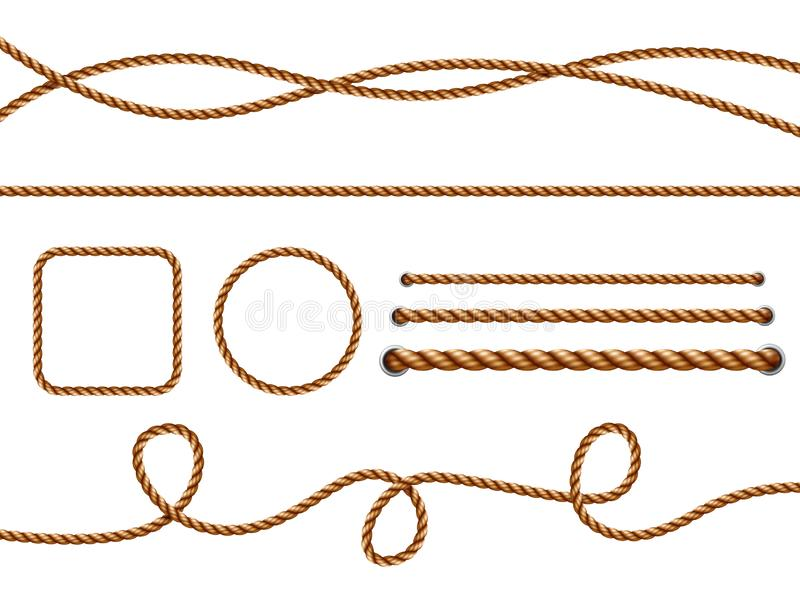 Realistic ropes. Yellow or brown curved nautical ropes with knots vector template royalty free illustration