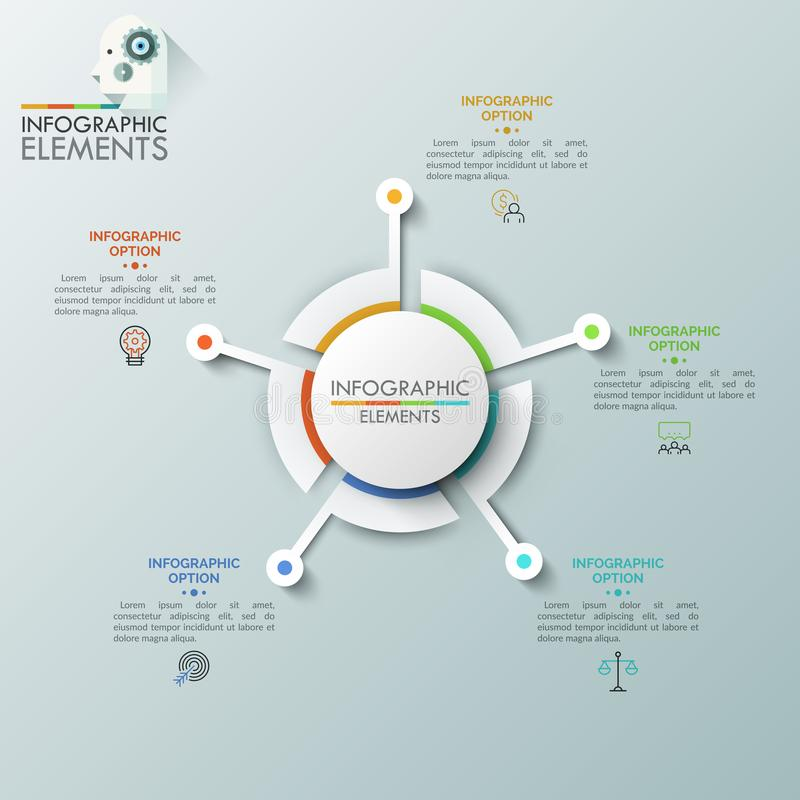 Realistic round diagram consisted of 5 sectoral parts connected with linear symbols and text boxes. Futuristic element vector illustration