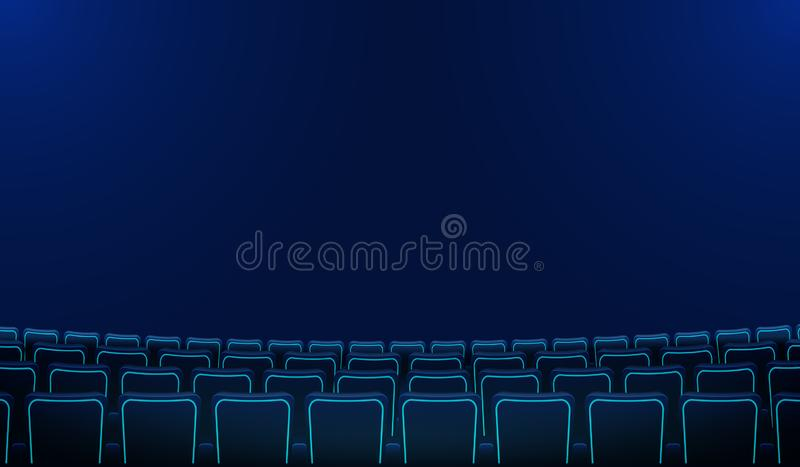 Realistic rows of blue chairs cinema or movie theater seats in the darkness. Cinema auditorium and movie theater empty royalty free illustration