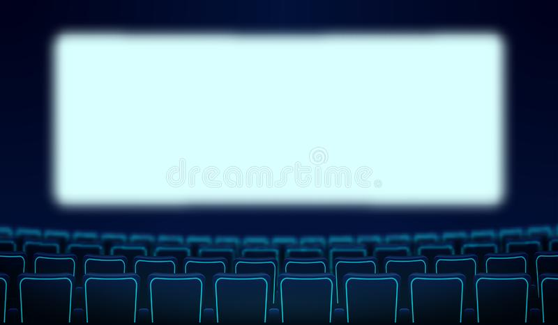 Realistic rows of blue chairs cinema and white blank screen in the darkness. Cinema auditorium and movie theater seats facing royalty free illustration