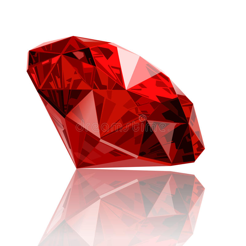 Realistic ruby gemstone. With reflection stock illustration