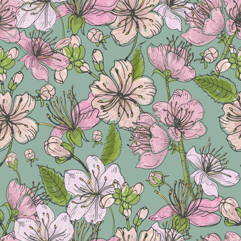 Realistic sakura hand drawn seamless pattern with buds, flowers, leaves. Colorful vintage style illustration. stock photos