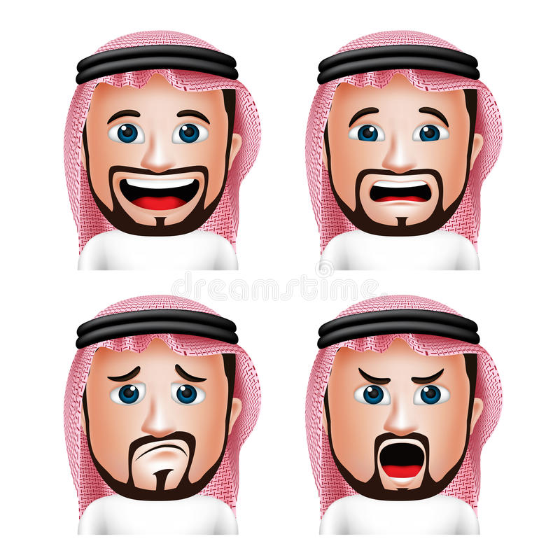 Realistic Saudi Arab Man Head with Different Facial Expressions stock illustration