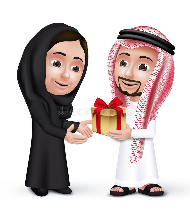 Realistic Saudi Arab Man Wearing Thobe Giving Golden Gift. With Red Ribbon in a Beautiful Woman Wearing Abaya as They are Lovers. Editable Vector Illustration royalty free illustration