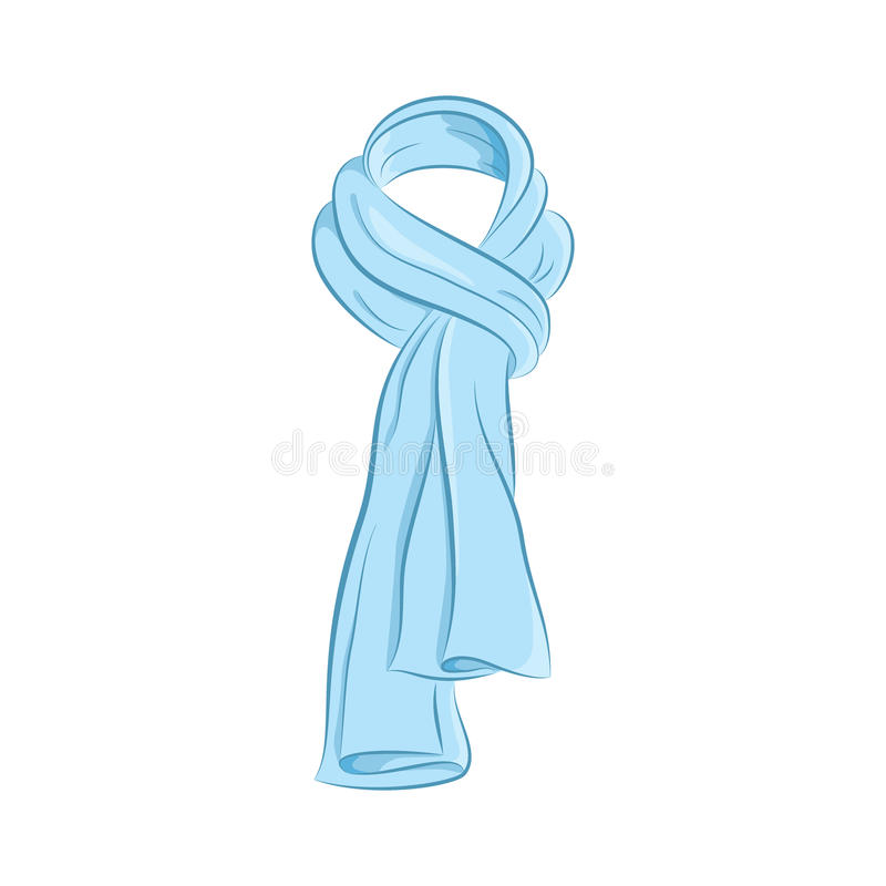 Realistic scarf. Women fashion accessories. The blue object isolated on white background. Vector cartoon illustration in hand draw royalty free illustration