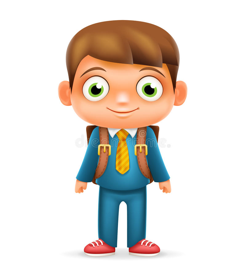 Realistic School Boy Child Cartoon Education Character 3d Icon Design Vector Illustrator royalty free illustration