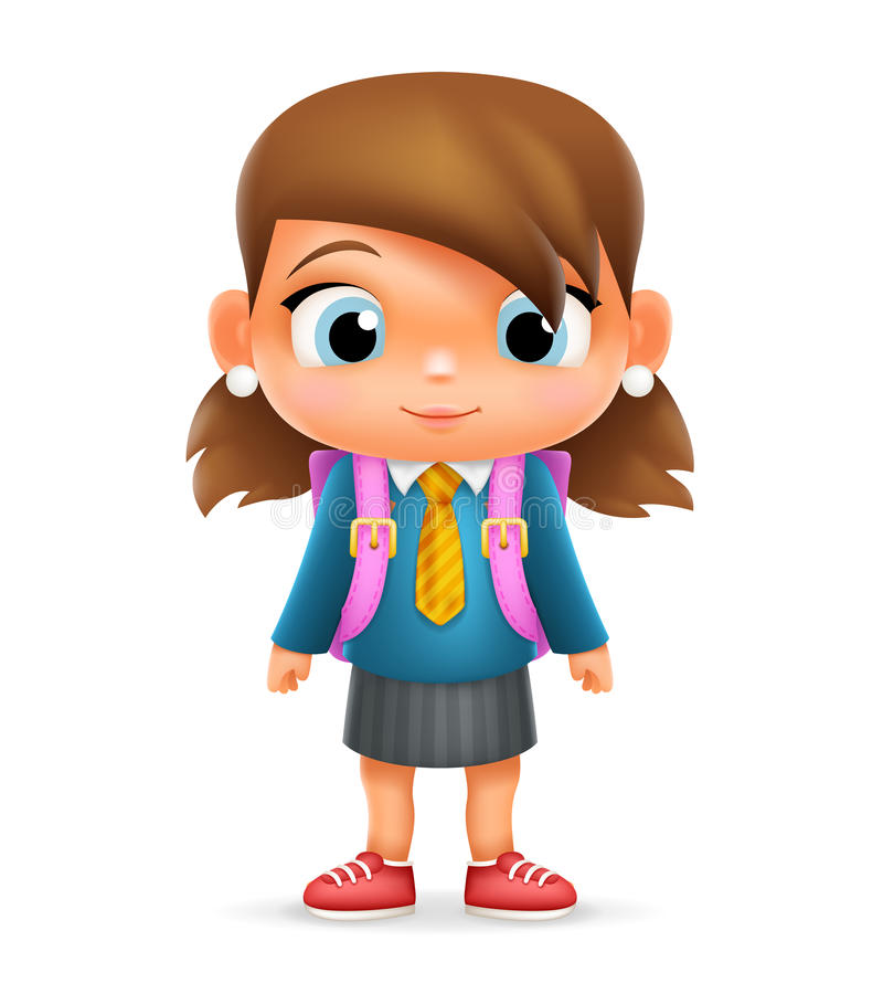 Cartoonsmart Character Design With Illustrator : Realistic school girl child cartoon education character