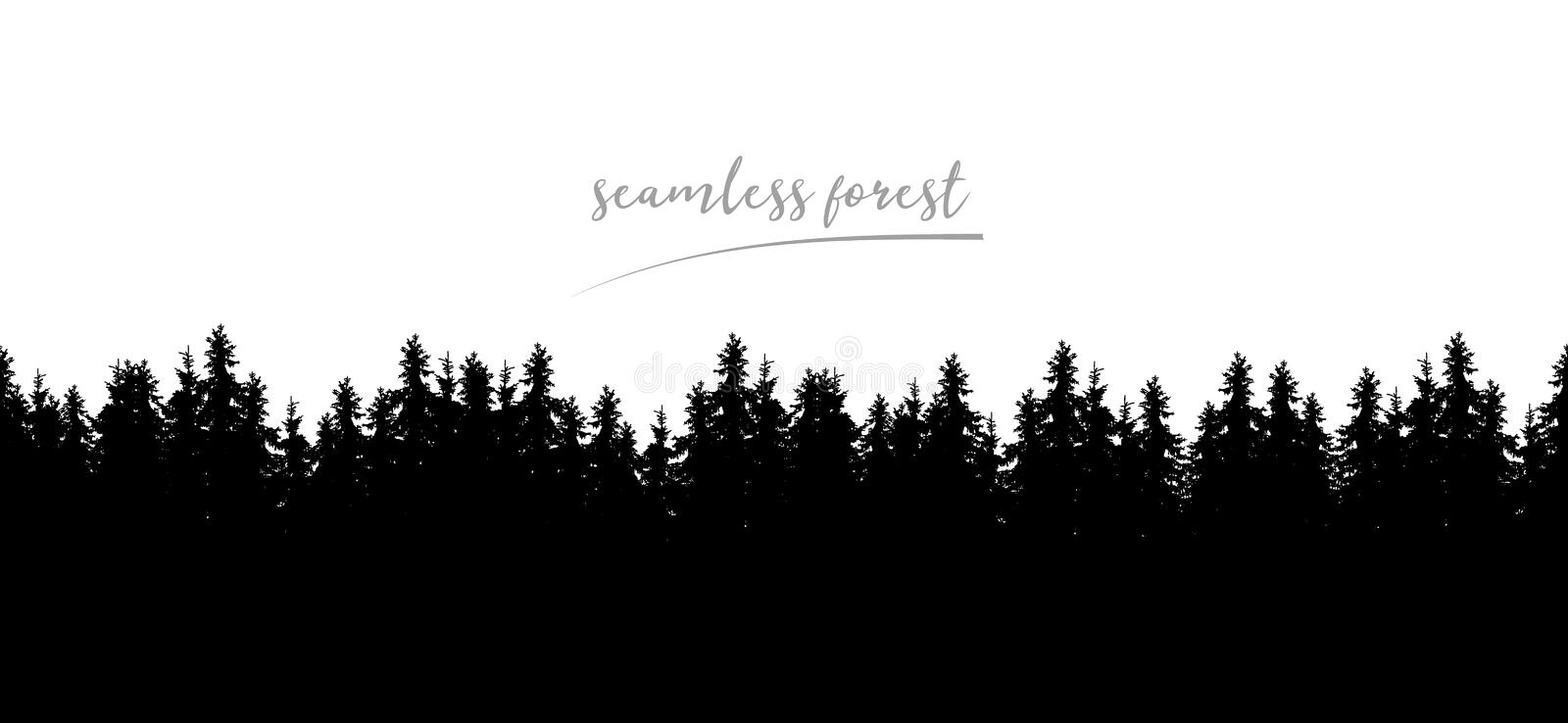 Realistic seamless illustration of silhouettes of coniferous spr vector illustration