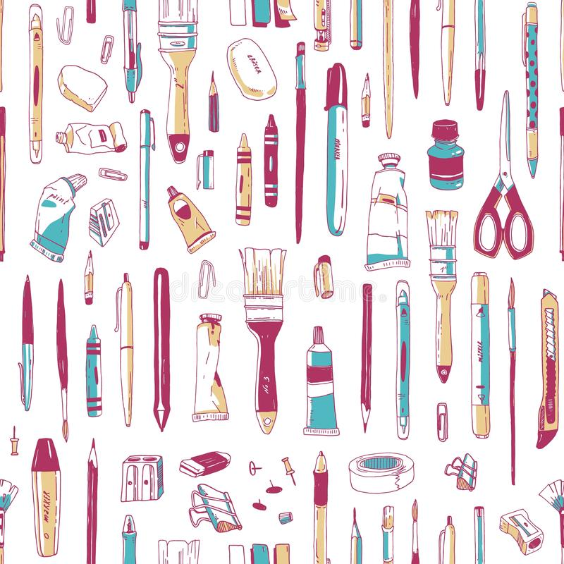 Realistic seamless pattern with stationery, writing utensils, tools for artist or art supplies hand drawn on white royalty free illustration