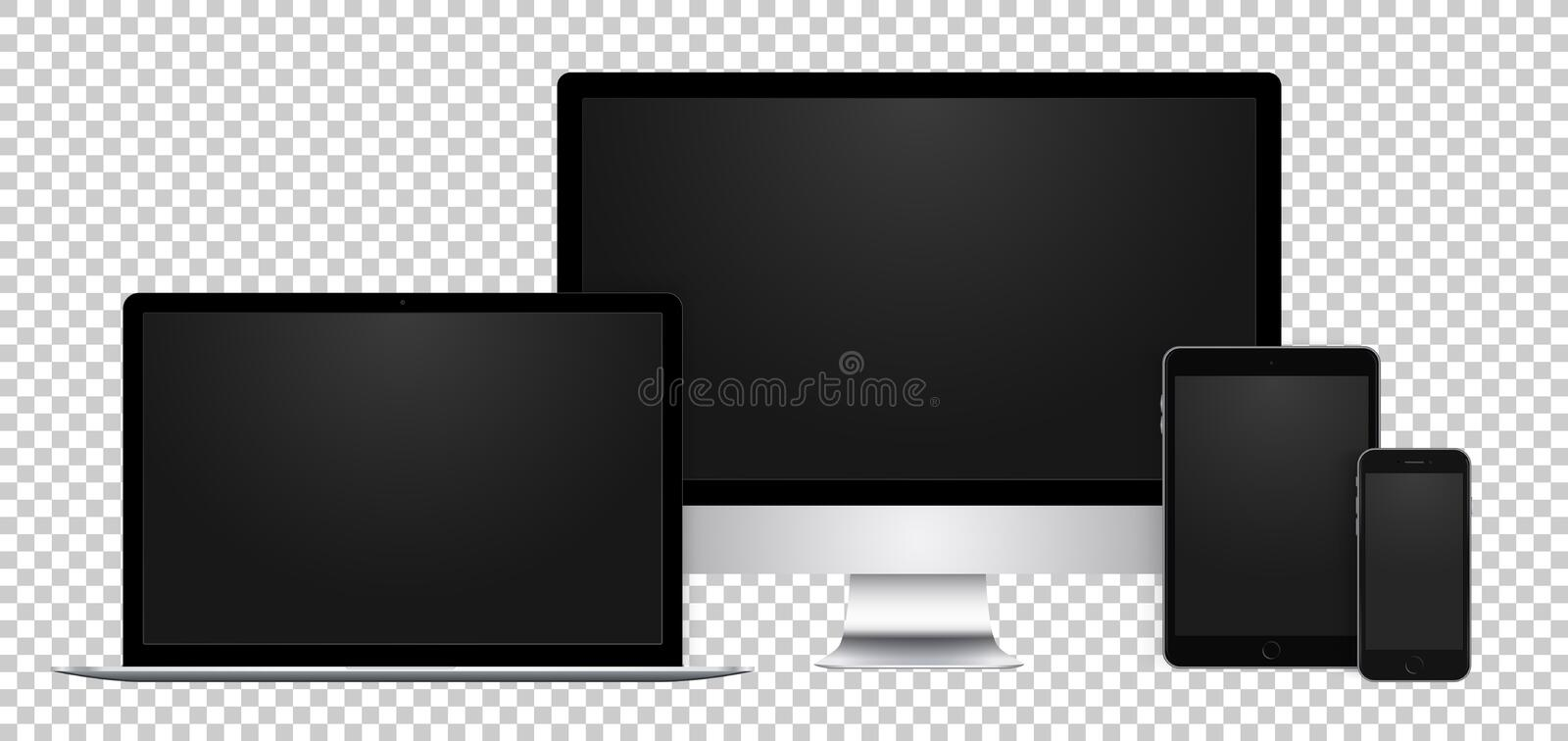 Realistic set of black display, laptop, tablet and phone with empty screen on transparent background. stock illustration