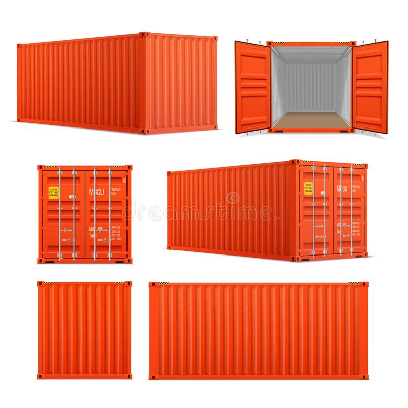 Realistic set of bright red cargo containers.   Front, side back and perspective view.  Open and closed. Delivery, transportation, shipping freight vector illustration