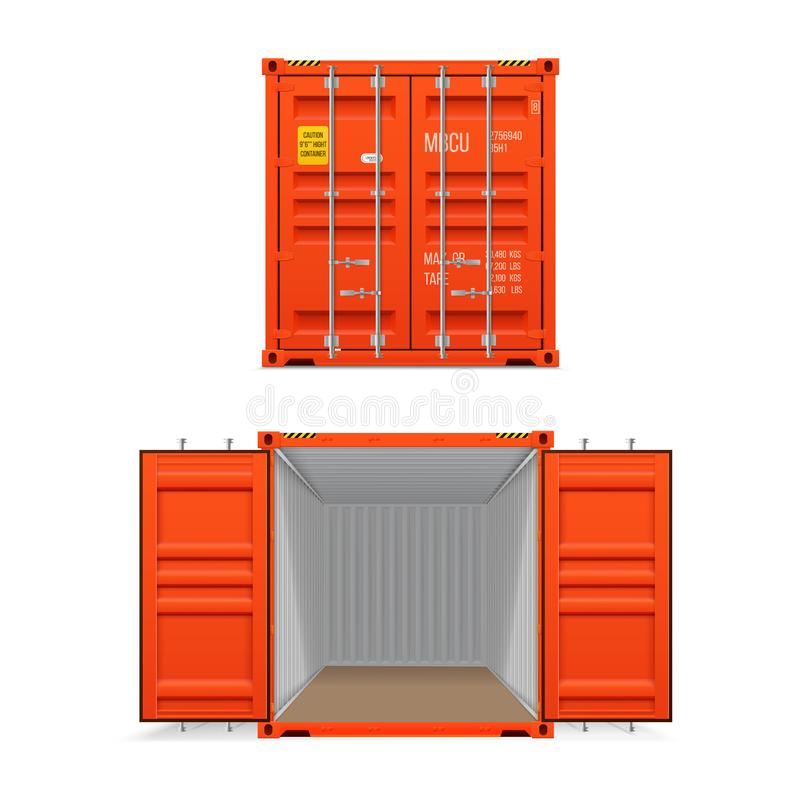 Realistic set of bright red cargo containers.   Open and closed. Delivery, transportation, shipping freight transportation vector illustration