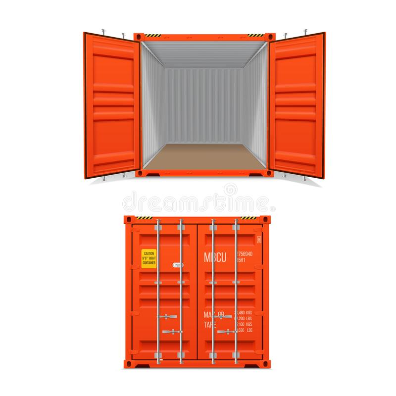 Realistic set of bright red cargo containers.   Open and closed. Delivery, transportation, shipping freight transportation stock illustration