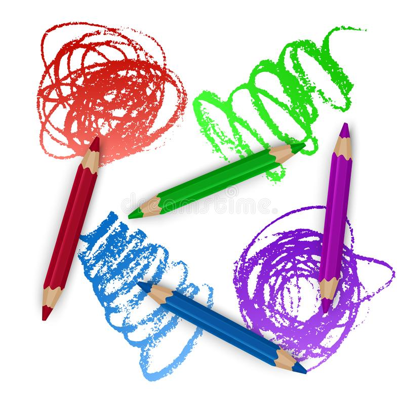 Realistic Set of Colorful Colored Pencils, Crayons with Brush Strokes Background, Back to School art. Vector Illustration royalty free illustration