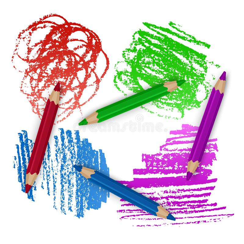 Realistic Set of Colorful Colored Pencils, Crayons with Brush Strokes Background, Back to School art. Vector Illustration stock illustration