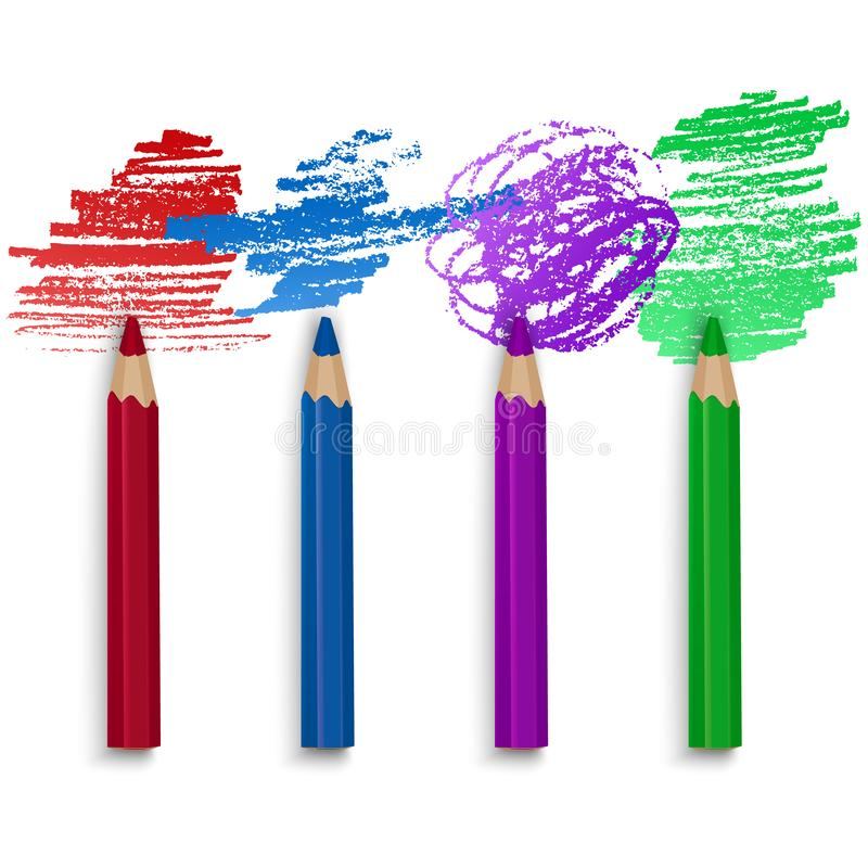 Realistic Set of Colorful Pencils, Crayons with Brush Strokes Background, Back to School art. Vector Illustration stock illustration