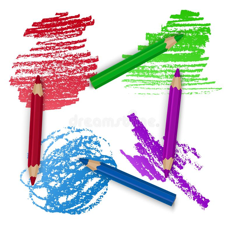 Realistic Set of Colorful Pencils, Crayons with Brush Strokes Background, Back to School art. Vector Illustration vector illustration