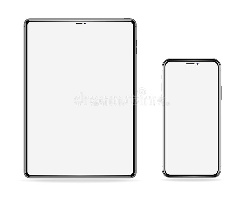 Realistic set of electronic devices, tablet and phone with empty screen on white background stock illustration
