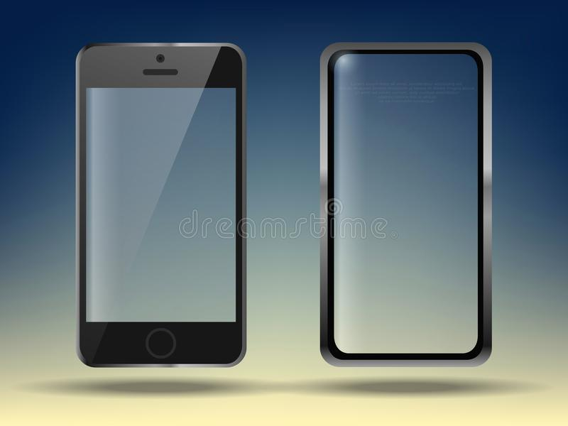 Realistic set mobiles smartphone on transparent background, 3d realistic smart phone in different angles. Realistic set mobiles smartphone on transparent stock illustration