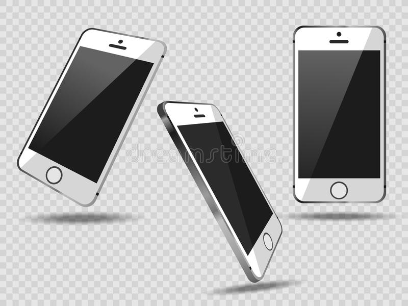 Realistic set mobiles smartphone on transparent background, 3d realistic smart phone in different angles. Realistic set mobiles smartphone on transparent royalty free illustration