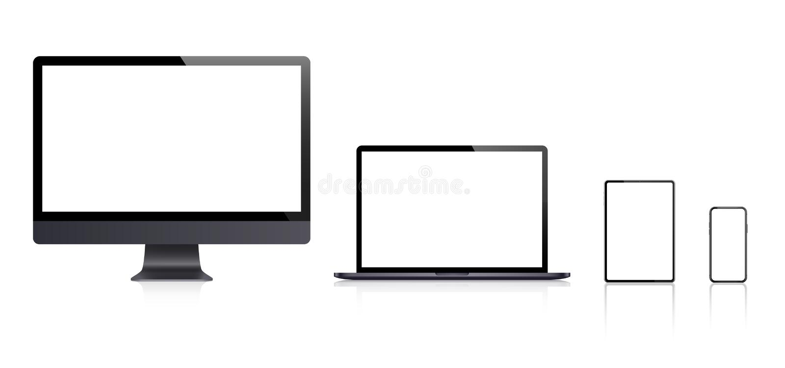 Realistic set of Monitor, laptop, tablet, smartphone - Stock Vector vector illustration
