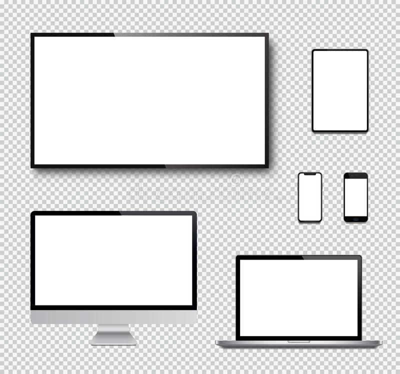 Realistic set of Monitor, laptop, tablet, smartphone and TV screen - Stock Vector.  royalty free illustration
