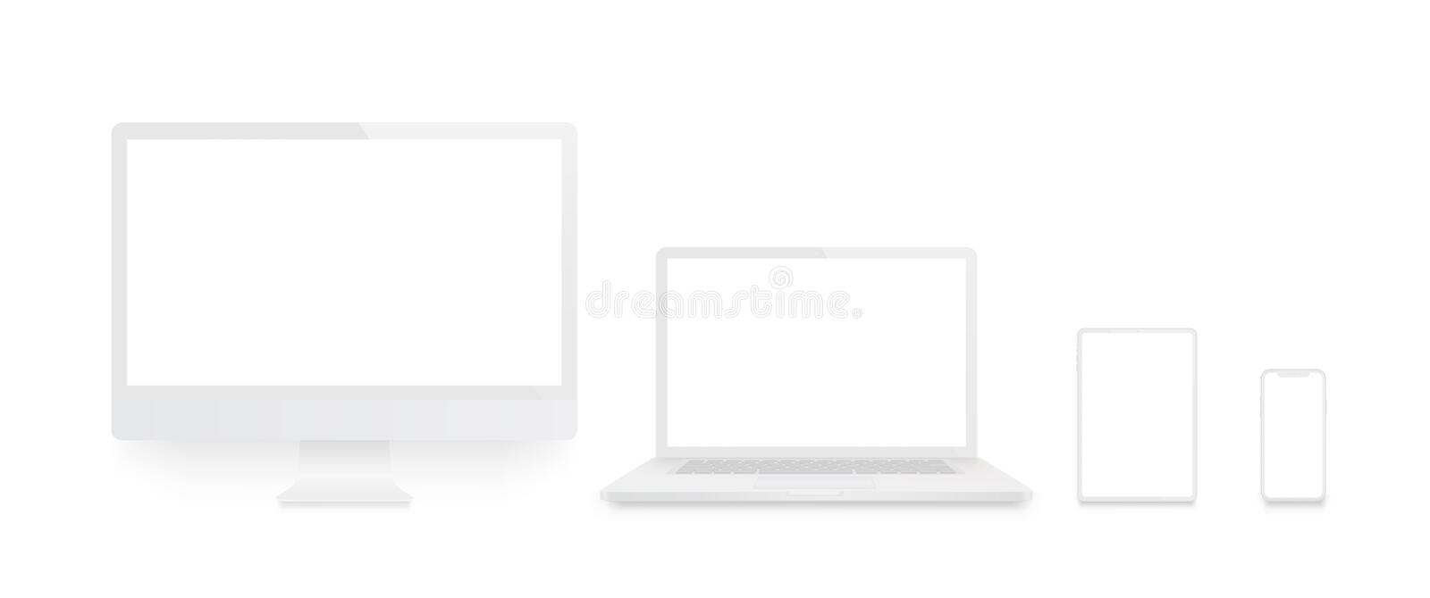 Realistic set of Monitor, laptop, tablet, smartphone white color - Stock Vector royalty free illustration