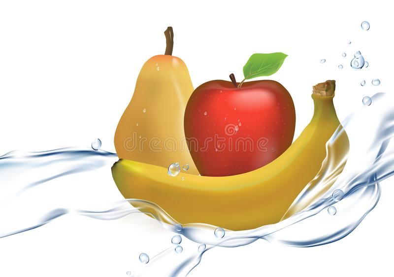 3D illustration of a set of ripe fruits: water spray, banana, Apple, pear isolated on white background. Realistic set of ripe banana fruit, apple, pear isolated stock illustration