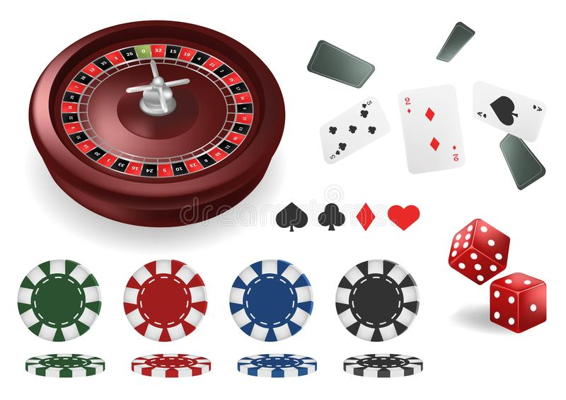The realistic set of vector casino elements or icons including roulette wheel, playing cards, chips, dice and more royalty free illustration