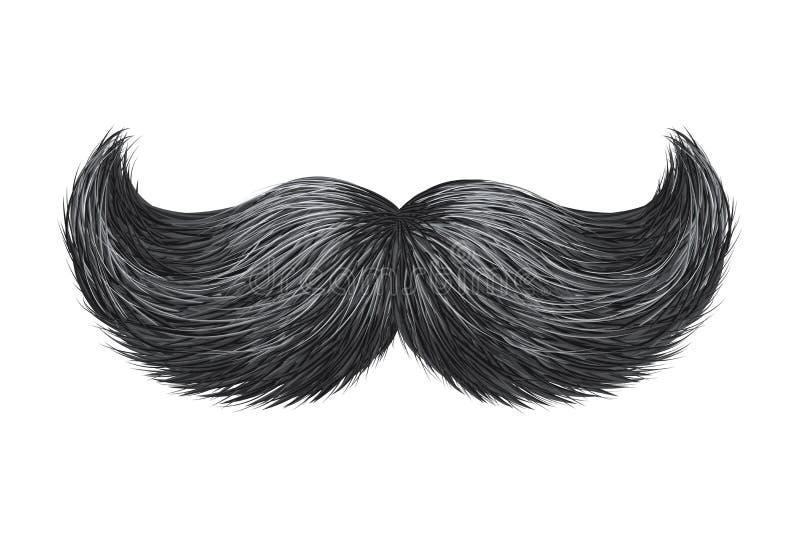 Realistic shine, effulgence vintage classic retro mustache isolated vector illustration. royalty free illustration