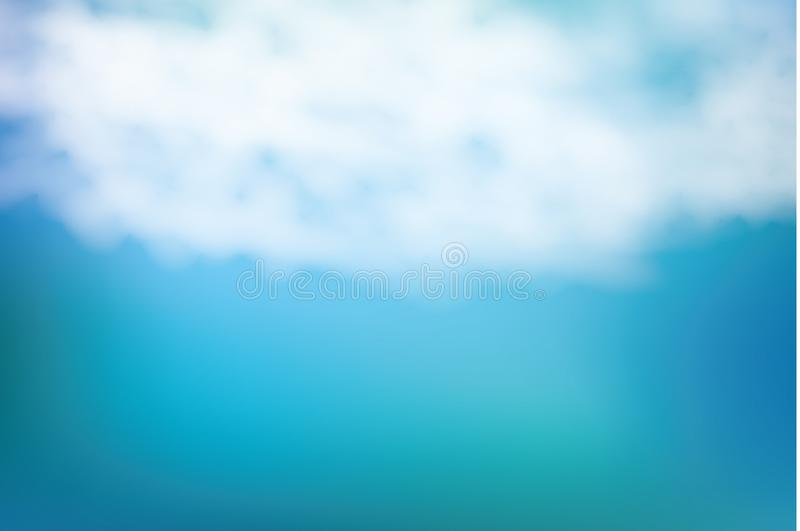 Realistic shining sun with lens flare. Blue sky with clouds background. Vector illustration. stock illustration