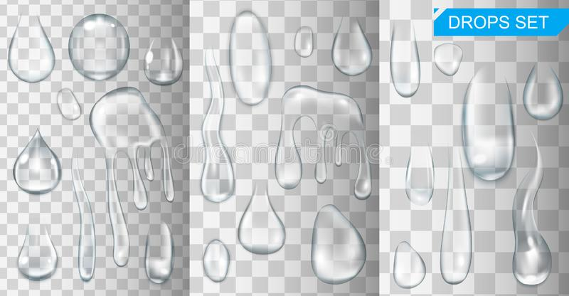 Realistic shining water drops and drips on transparent background vector stock illustration