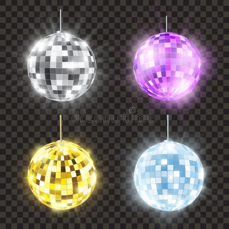 Realistic shiny disco ball set, bright round stock illustration