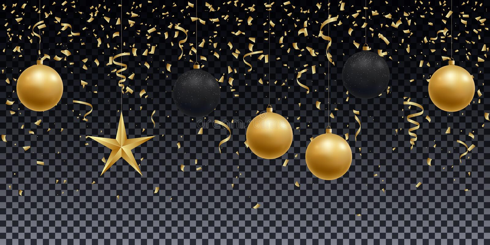 Realistic shiny gold and black balls, star and confetti on a transparent background. royalty free illustration