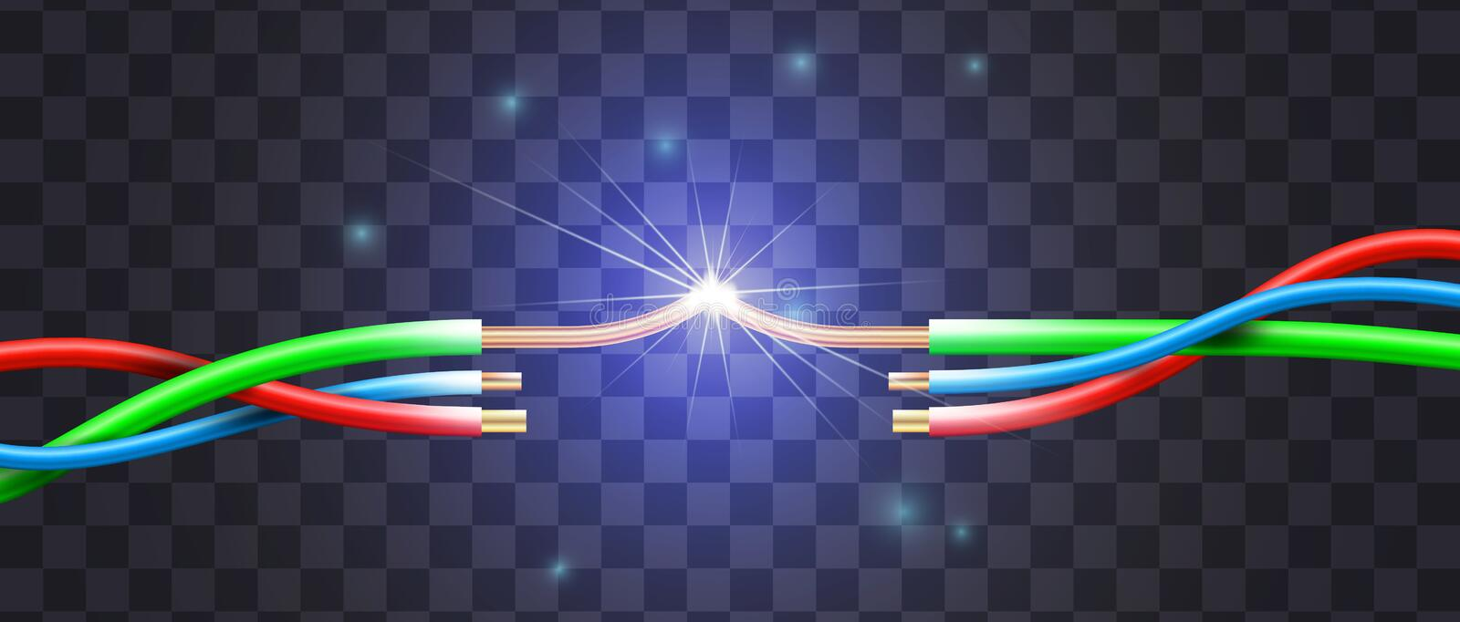 Realistic short circuit by the example of a three wire break in royalty free illustration