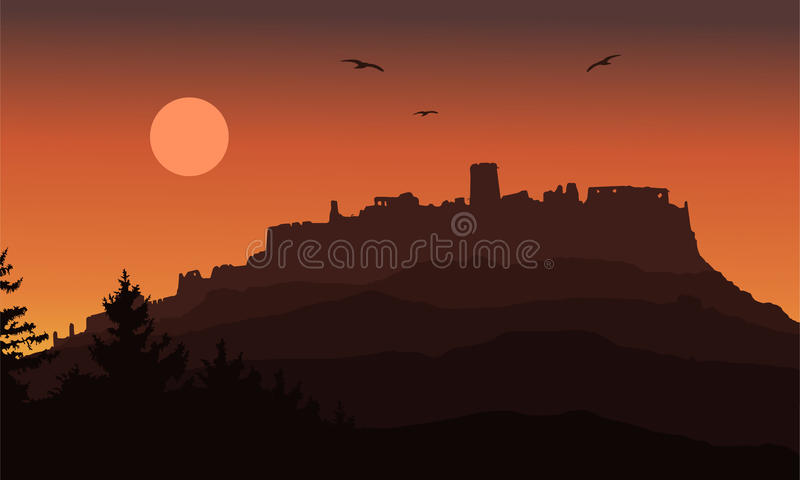 Realistic silhouette of the ruins of a medieval castle built on a hill beyond the forest under a dramatic sky with the moon, flyin. G birds and rising sun royalty free illustration