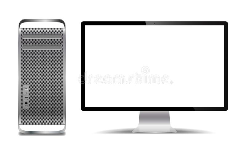 Realistic Silver Computer Tower And Screen. A realistic silver computer tower and screen isolated on a white background vector illustration