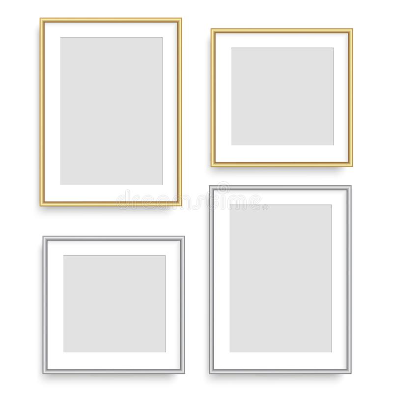 Realistic silver and golden square picture frame. Vector. stock illustration