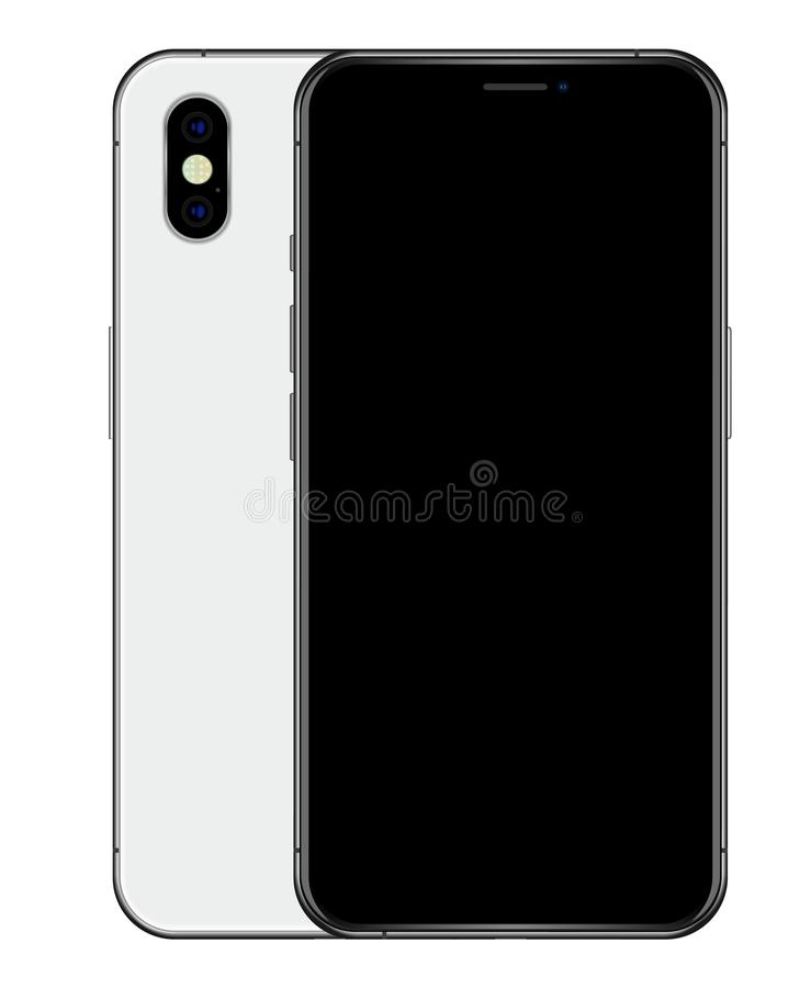 Realistic Silver phone black screen and back side with dualcamera module royalty free illustration