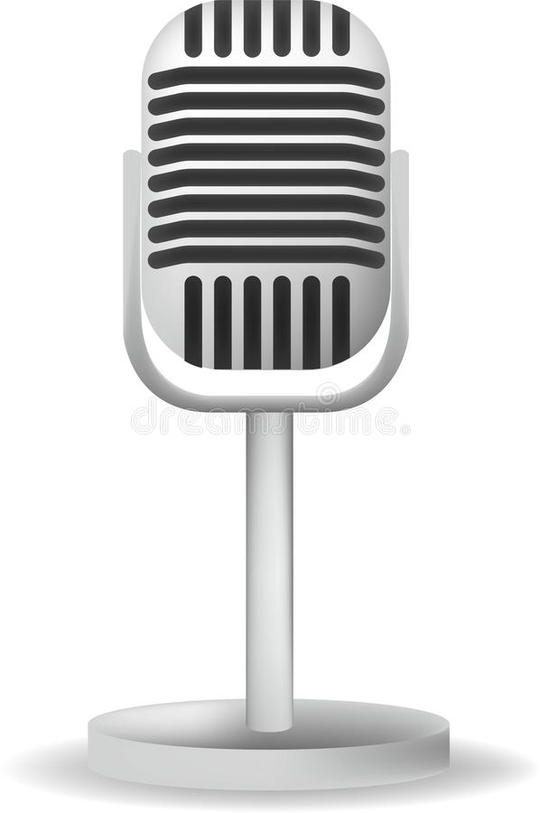 Realistic single silver microphone retro design with black switch on white gray background isolated vector illustration stock illustration